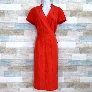 Linen Silk Wiggle Wrap Dress Red Midi Maggy London